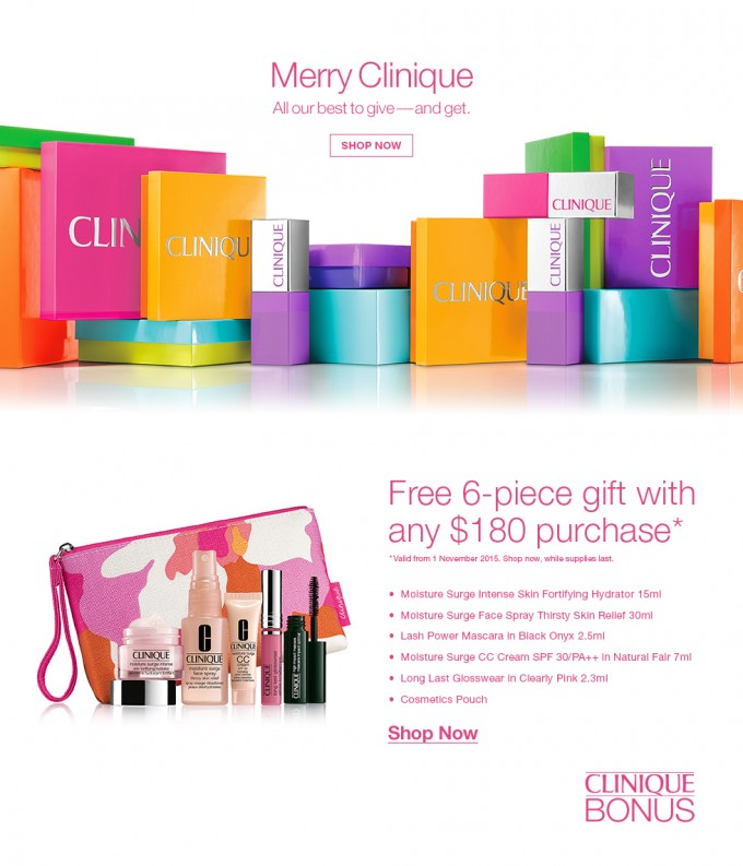GIFT: Free Clinique gift pack with purchase at Shilla Singapore