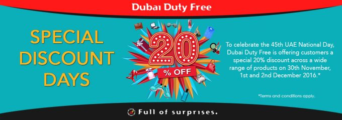 Dubai Duty Free 20% off Discount Days are on now
