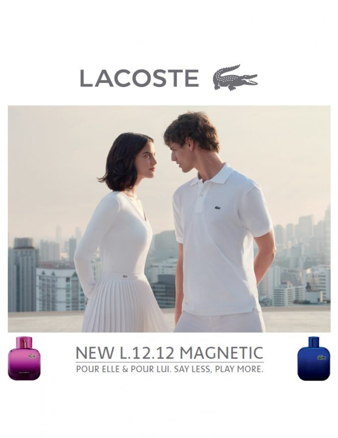 Lacoste debuts duelling new fragrances L.12.12 Magnetic