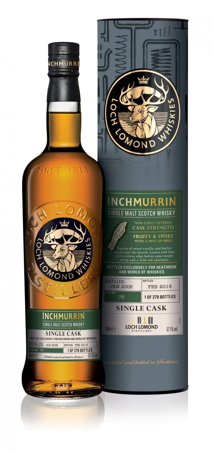 Exclusive Loch Lomond Inchmurrin Single Cask lands in World of Whiskies at Heathrow T5