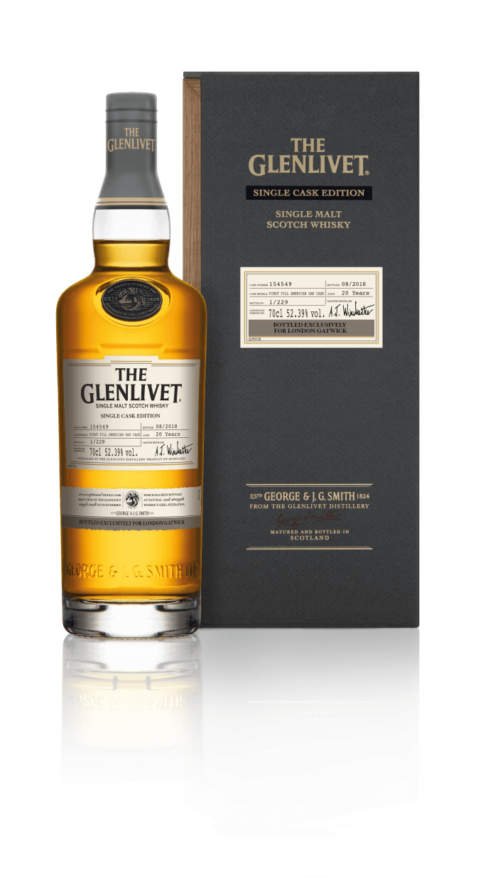 Hurry! Hurry! Last few bottles of rare The Glenlivet Single Cask go on sale at London Gatwick