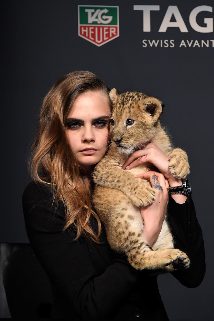 Model Cara Delevingne poses as she joins TAG Heuer as Brand Ambassador to launch the new 2015 campaign at Palais des Beaux-Arts on January 23, 2015 in Paris, France. (Photo by Pascal Le Segretain/Getty Images for TAG Heuer)