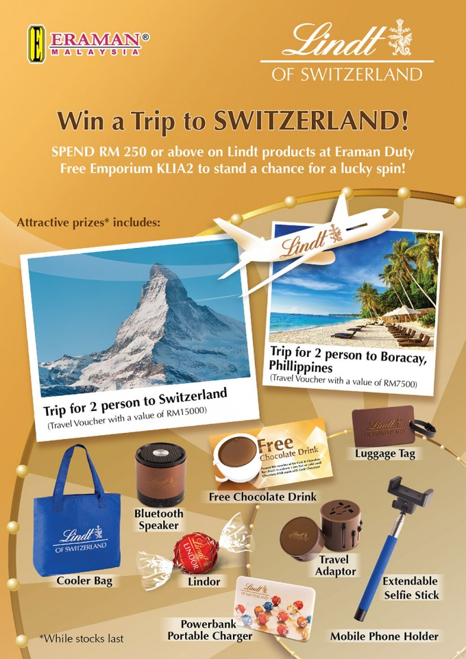 SPIN TO WIN: Trip to Switzerland with Lindt and Eraman Duty Free