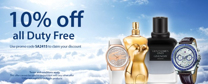 SAVE: 10% off all duty free on SAA South African Airways