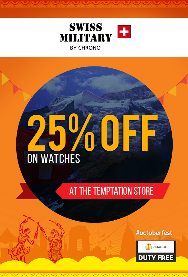 Mumbai Duty Free – 25% off Swiss Military watches