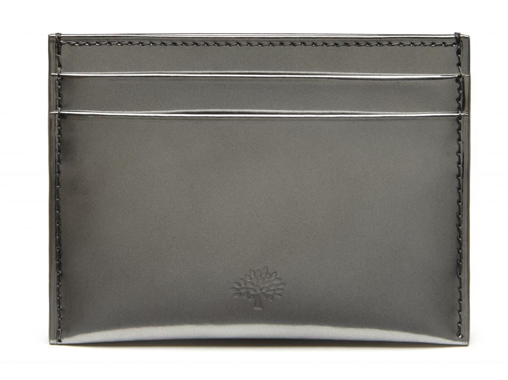 Credit Card Slip in Silver Mirror Metallic Leather £95
