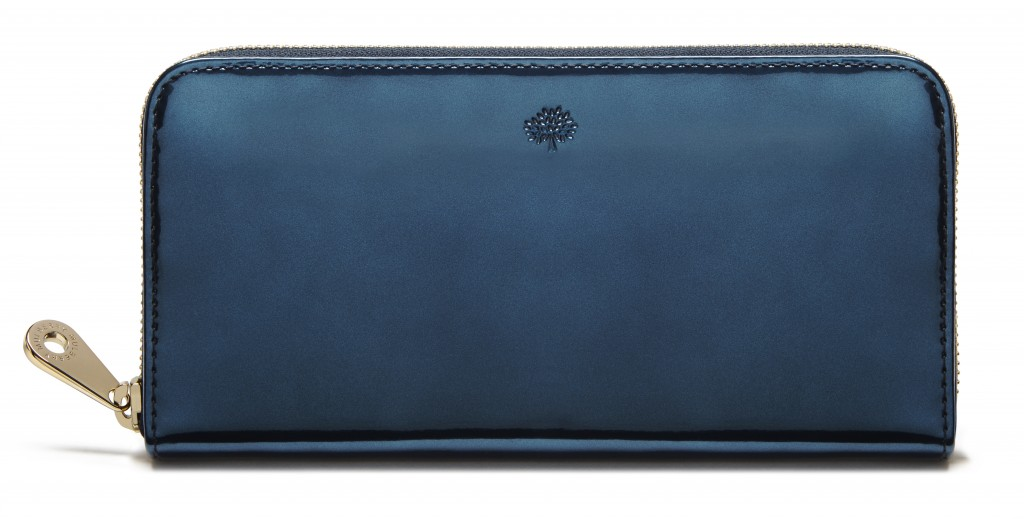 Zip Around Wallet in Midnight Mirror Metallic Leather £295