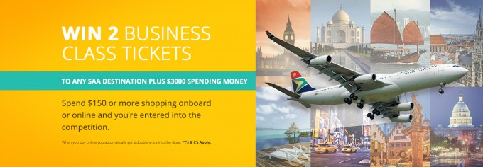 WIN: 2 SAA business class flights to any destination + $3000 when you shop onboard