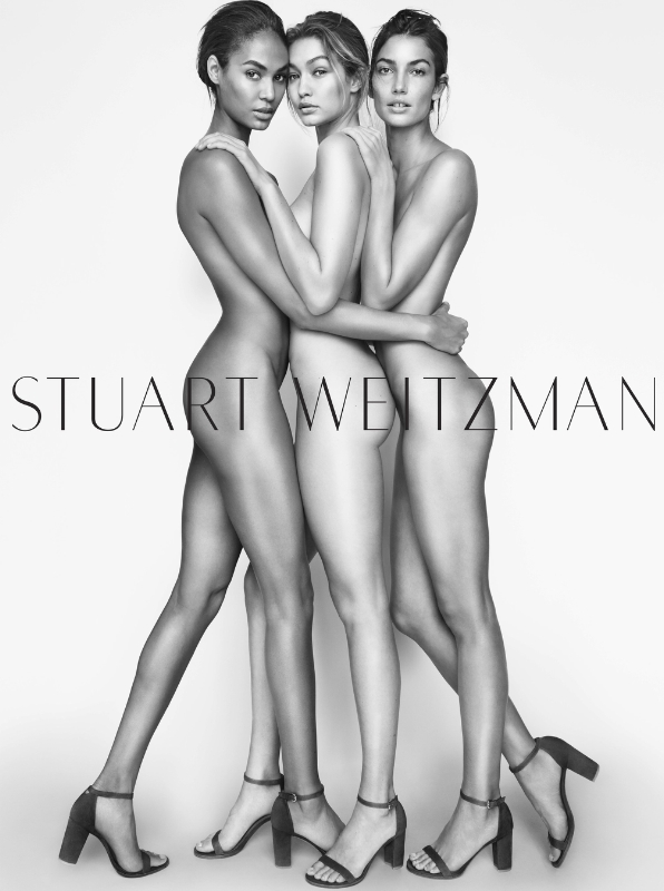 Supermodels Gigi, Joan & Lily strip for Stuart Weitzman