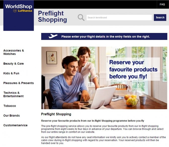 Lufthansa launches new Pre-flight shopping service