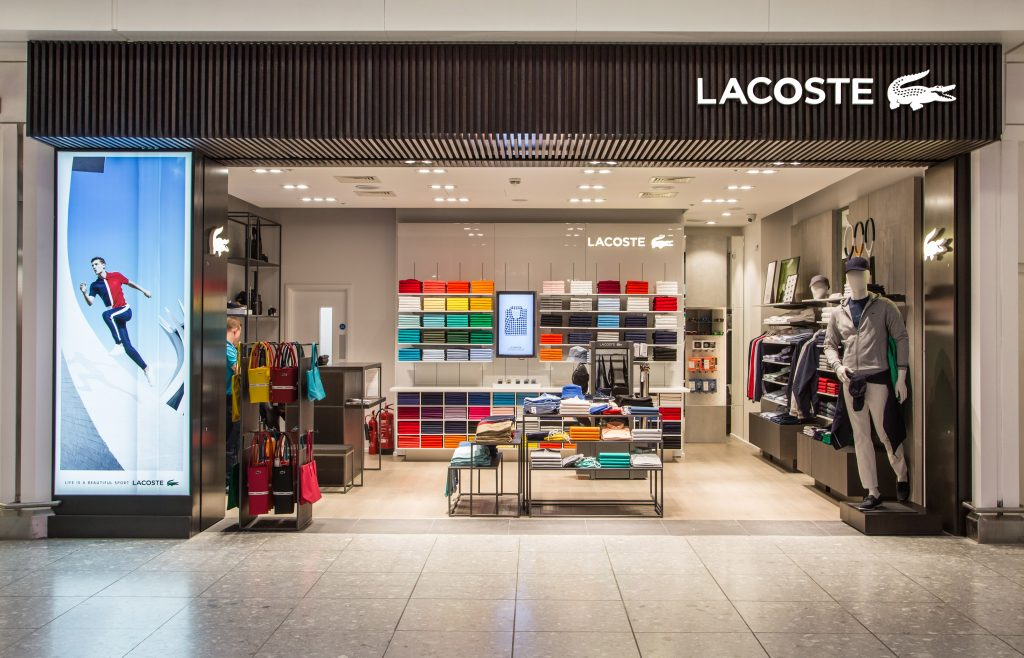 Heathrow, Terminal 4, airside, departure lounge, Lacoste retail outlet, March 2016.