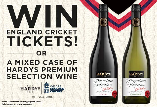 WIN: England cricket tickets with Hardy's and World Duty Free