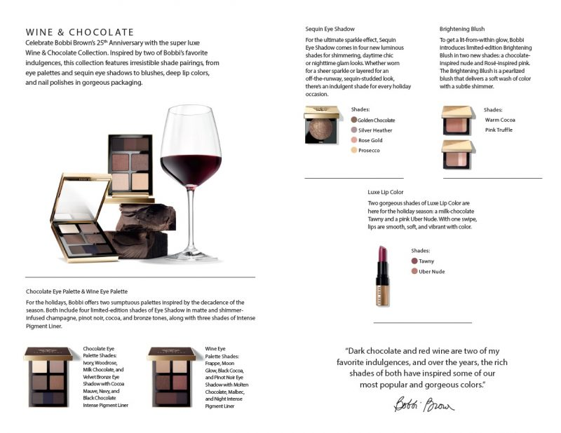 Bobbi Brown Cosmetics Unwraps Wine Chocolate Holiday
