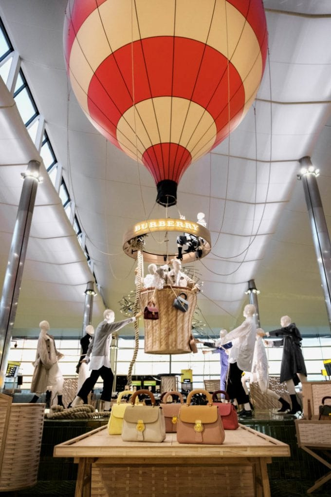 Burberry hot air balloon flies into London Heathrow T2