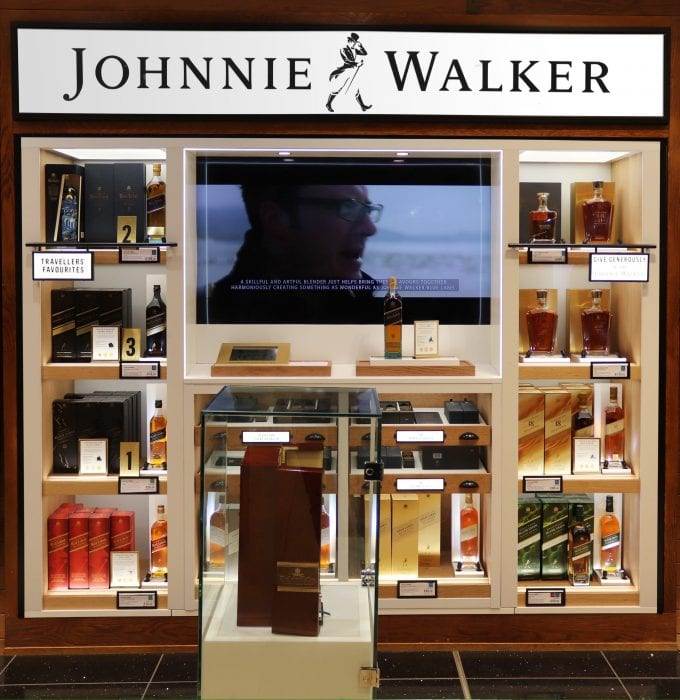 Johnnie Walker strides into London Heathrow sporting a new look for travelling shoppers