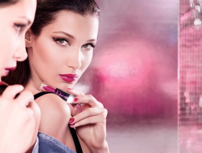Dior's new Addict Lacquer Plump gets party-tested by Bella Hadid