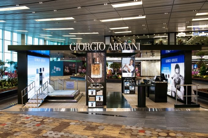 Giorgio Armani opens the Armani Yacht Club; introduces Acqua di Giò Absolu scent at Singapore Changi Airport