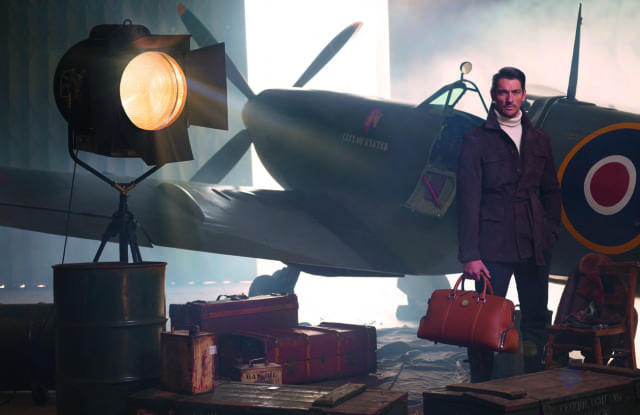 Aspinal of London unveils Aerodrome by David Gandy (plus a Spitfire and his dog)