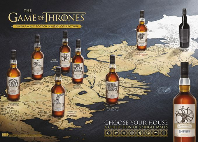 Game of Thrones House single malt whiskies arrive in duty free shops