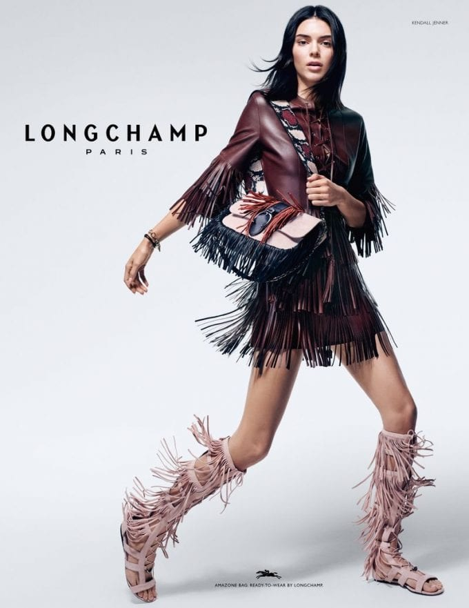 Longchamp and Kendall rock fringes in new collection