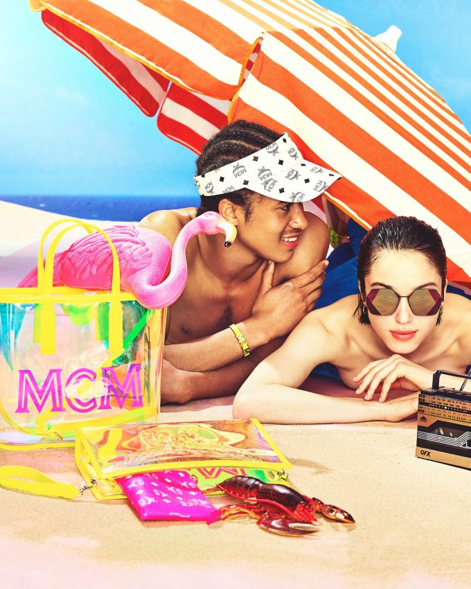 MCM hits the beach with neon summer travel looks