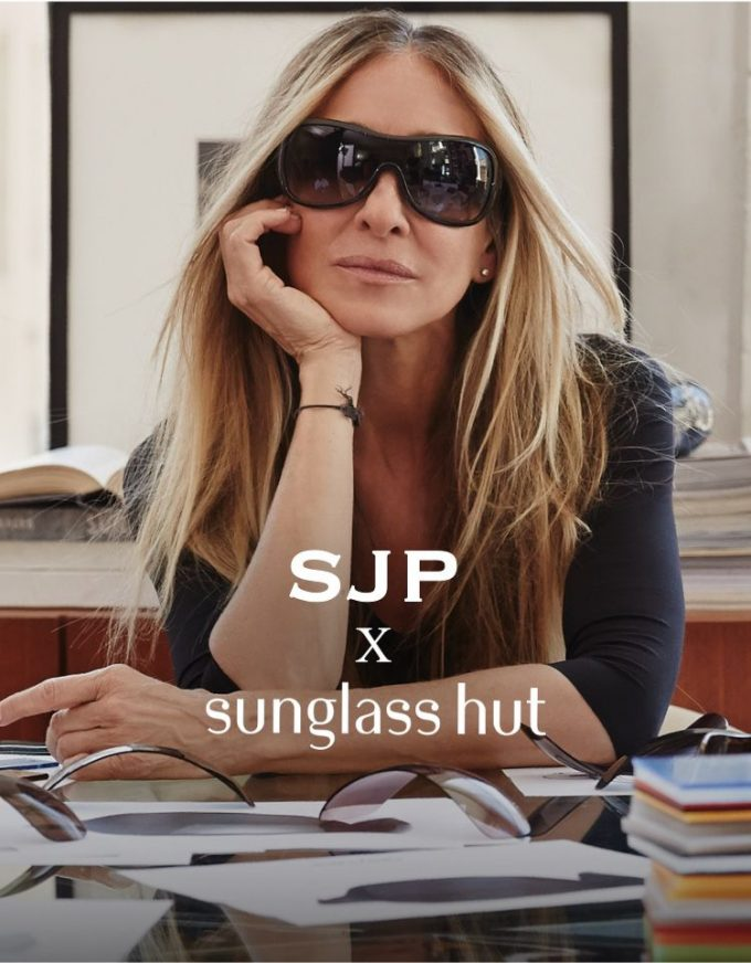 SJP X SUNGLASS HUT shield sunglasses debut at London Heathrow