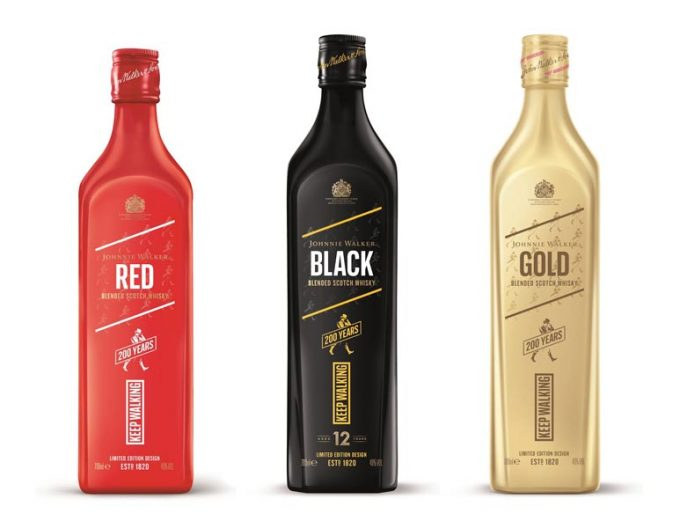 Johnnie Walker reveals a trio of limited edition bottles to celebrate 200 years