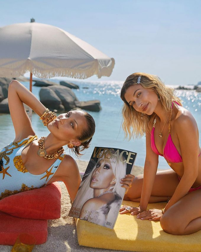 Versace launches Dylan Turquoise on the beach with Hailey Bieber & Bella Hadid