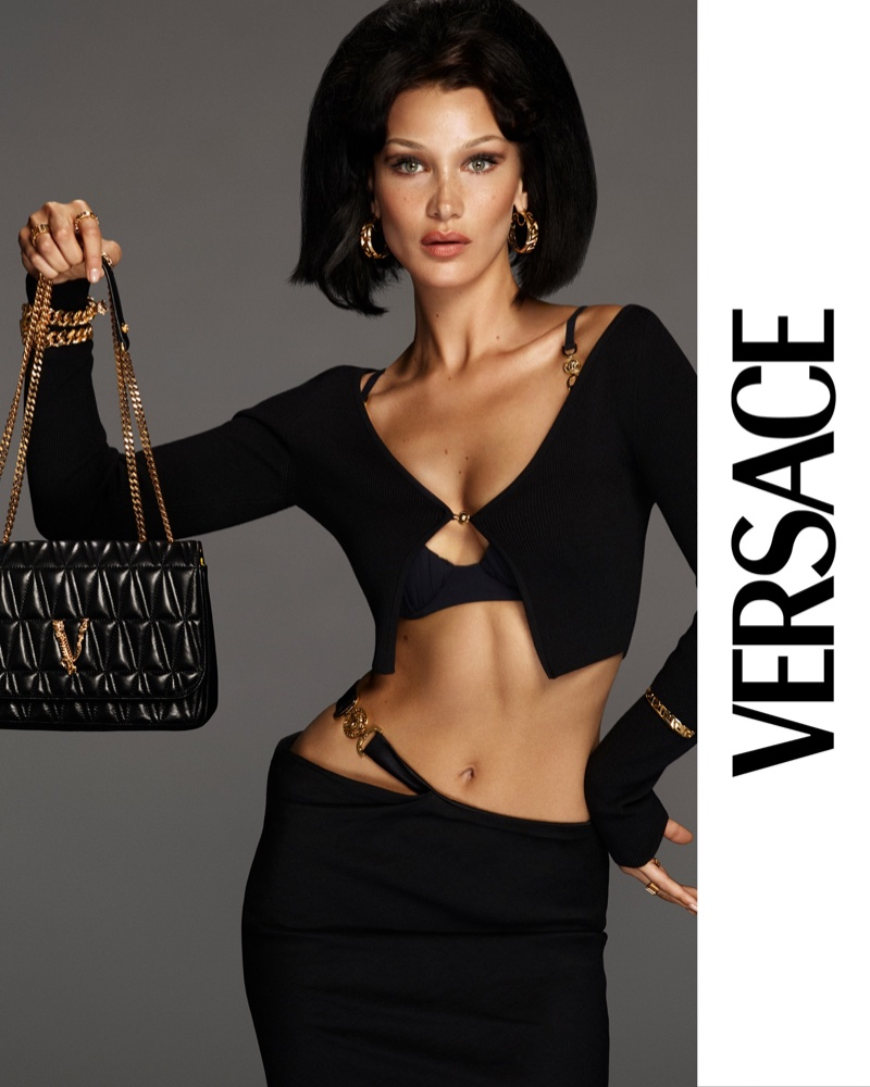 Versace shows off its new Virtus bags with help from Bella Hadid